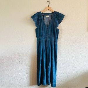 Madewell Button Front Flutter Sleeve Denim Dress
